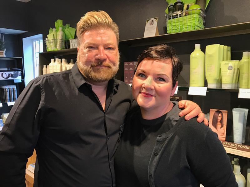 Sherri and Green Apple Salon owner Anthony Skoog. Photo courtesy of Green Apple Salon.
