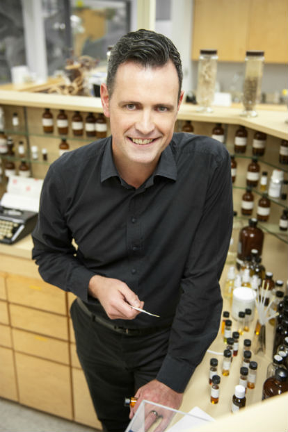 Aveda head of Pure-fume™ aroma, Guy Vincent, works with more than 100 pure botanicals when creating a distinct new Aveda aroma