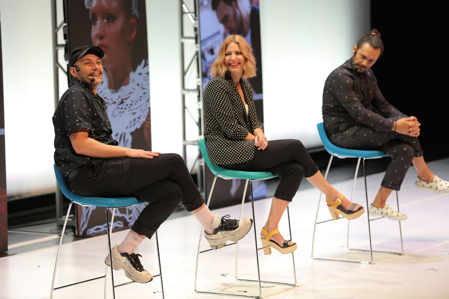 Ian Michael Black, Aveda artistic director; Janell Geason, Aveda global artistic director; and Ricardo Dinis, Aveda artistic director, told personal stories of failure, and how they learned from them. | Courtesy of The Salon People